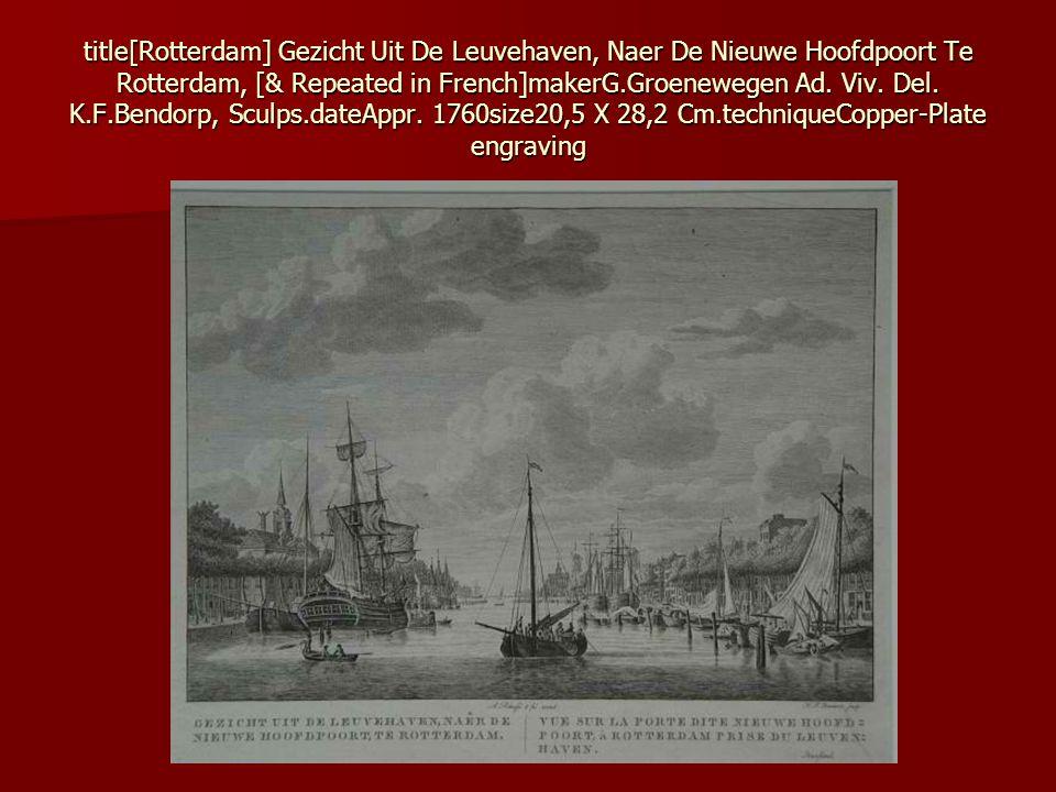 title[Rotterdam] Gezicht Uit De Leuvehaven, Naer De Nieuwe Hoofdpoort Te Rotterdam, [& Repeated in French]makerG.Groenewegen Ad.